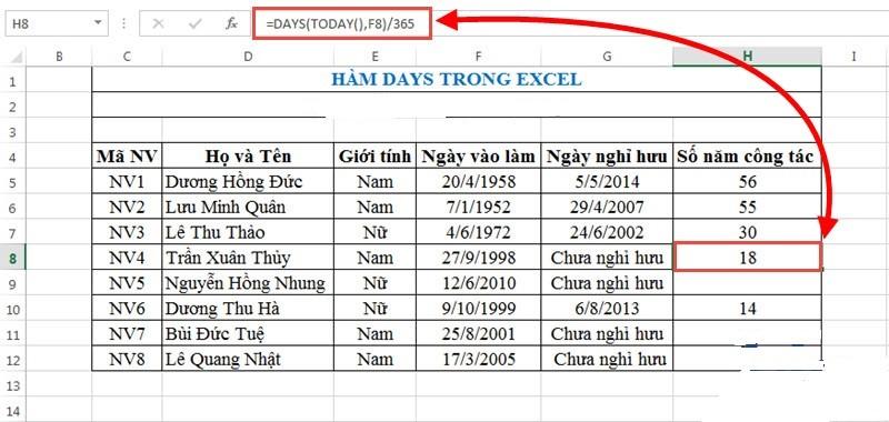 8.Hàm DAYS:Hàm trả về số ngày giữa 2 ngày trong Excel