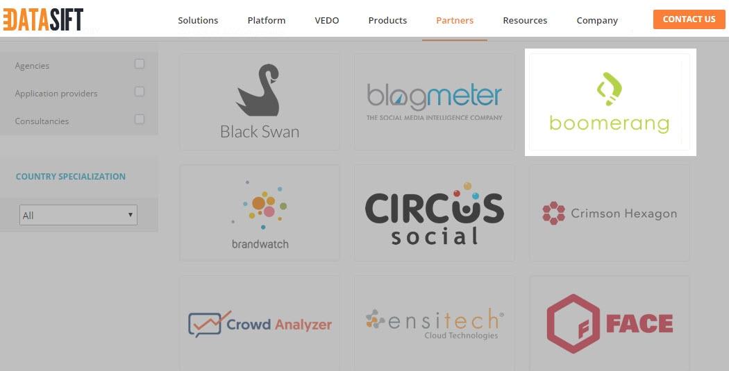 Boomerang là một trong số ít các agencies trên thế giới là đối tác của DataSift