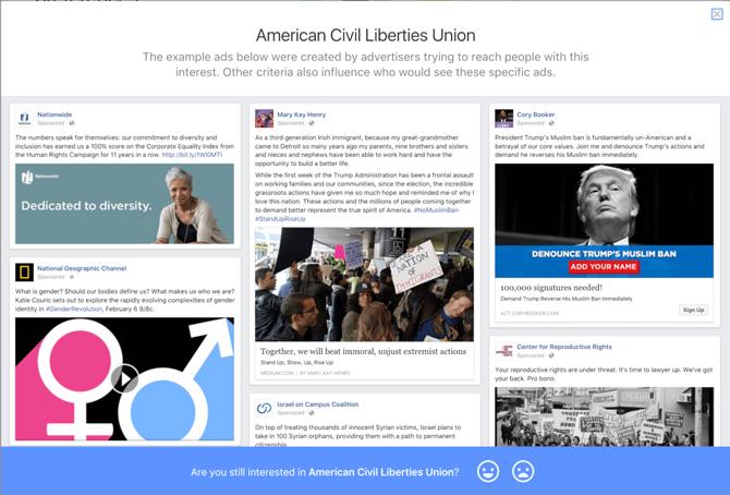 Các mẫu quảng cáo hiển thị với tệp khách hàng American Civil Liberties Union