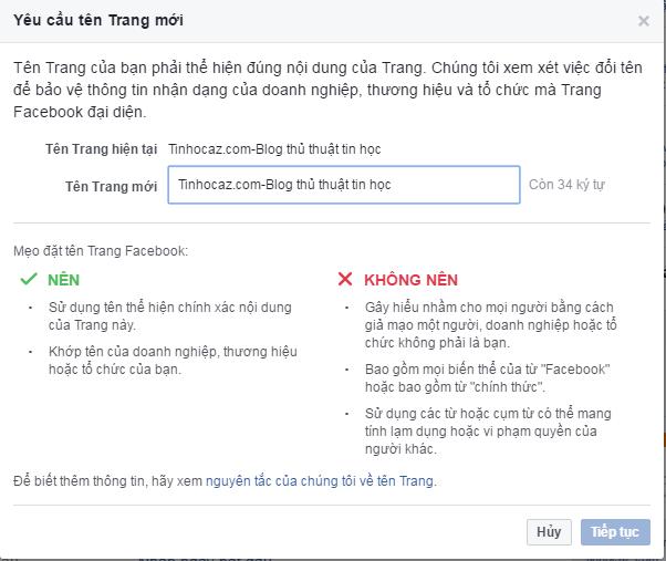 Cách đổi tên fanpage facebook chi tiết 3