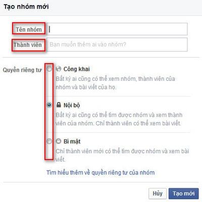tao nhom cho facebook