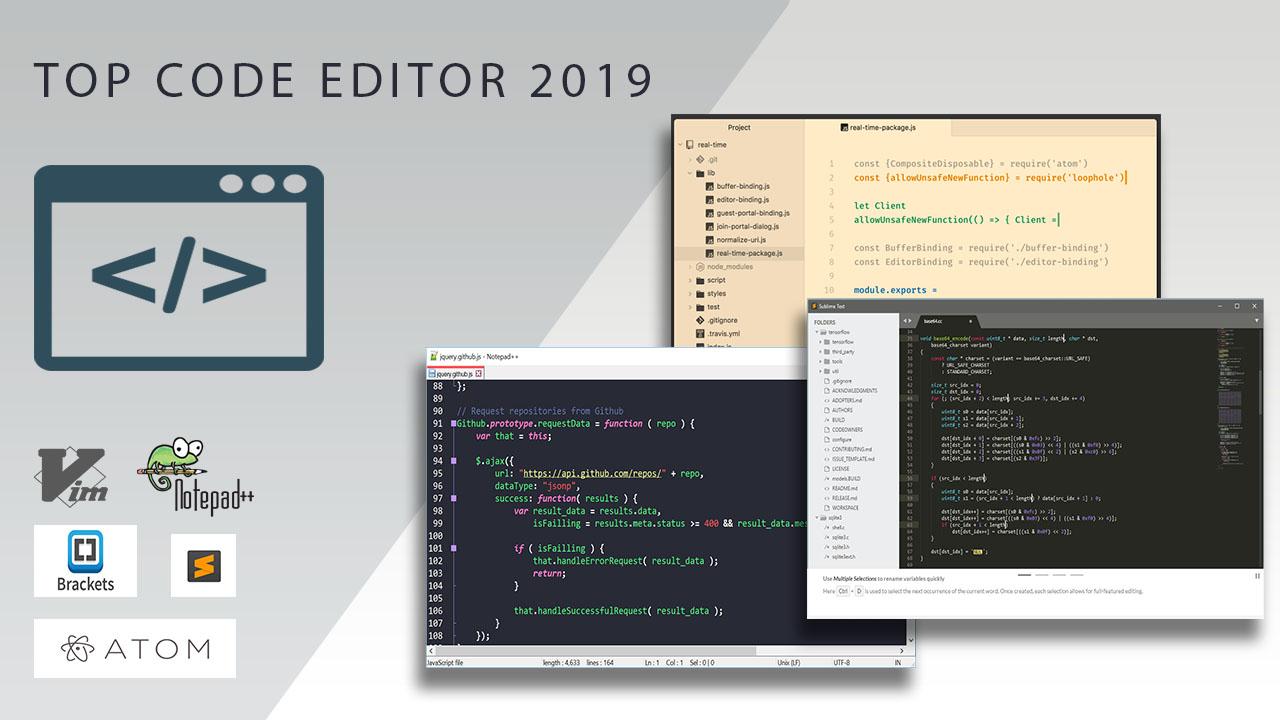 Top 10 Code Editor - trình soạn thảo code tốt nhất 2019